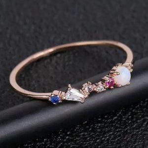 Delicate Rose Gold Opal & Multi Gemstone Ring